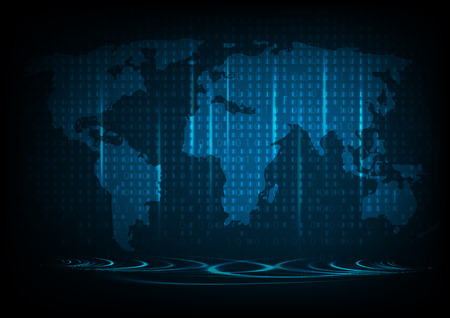 vector technology background with software code lines and world map