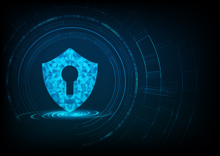 Cyber security concept: Shield With Keyhole icon on digital data background.