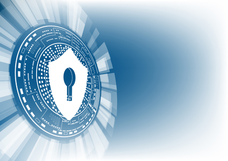 Cyber security concept: Shield with keyhole icon on digital data background. Illustrates cyber data security or information privacy idea. Blue abstract hi speed internet technology. Stok Fotoğraf - 81230096
