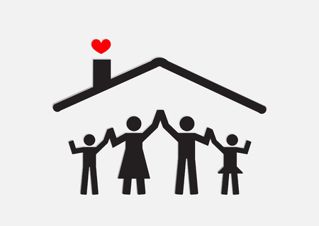 Family Icon.Concept happy family with house.