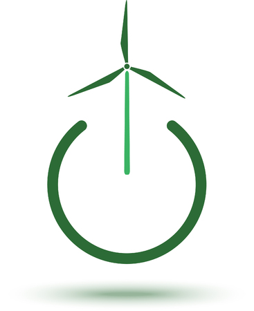 A green energy icon, windmill vector illustration for green power environmental concept.