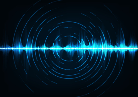 Abstract digital sound wave background. Stock Illustratie