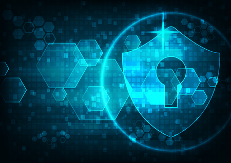 Cyber security concept: Shield With Keyhole icon on digital data background. Illustrates cyber data security or information privacy idea. Blue abstract hi speed internet technology.