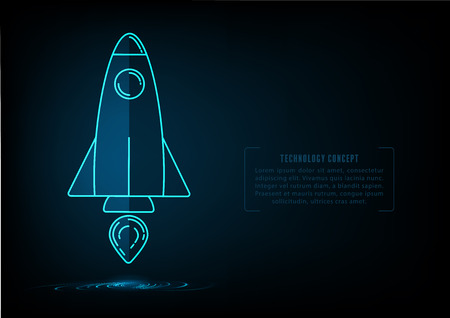 Flat style rocket launch on blue background environment with web elements for start up concept of creative ideas presentation.
