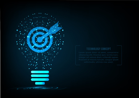 smart goals: Bulb creative technology with target and arrow inside.Concept of a define the business goal.