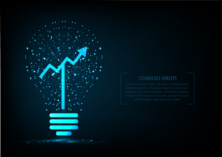 Light bulb with growing graph inside.Concept of successful growth of business. Illustration