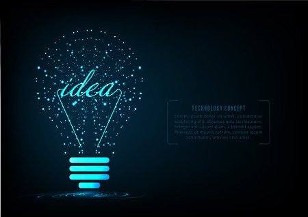 Bulb as idea of creative technology. concept of big ideas inspiration innovation, invention, effective thinking. text