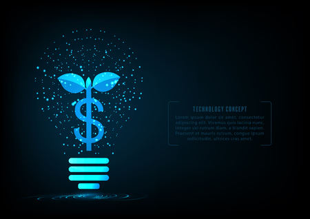Abstract Plant Growing Money In shape  Light Bulb Of Glowing Particles.Deposit Money And Invest Concept.