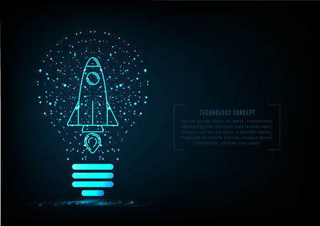 Rocket launch in light bulb on blue bacground environment with web elements for start up concept and deverlopment projects of creative ideas presentation.