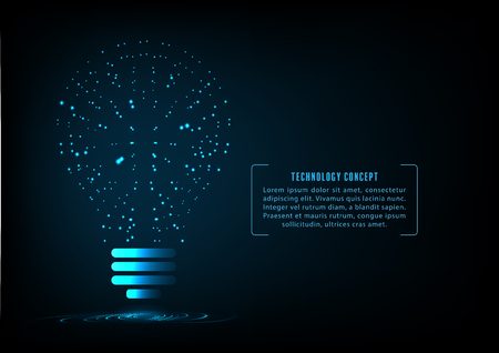 Abstract  shape  light bulb of glowing particles.Creative idea concept.Science and technology background. Illustration