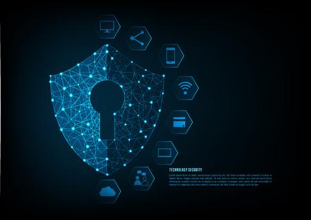 Internet Security Online Konzept: Vorhängeschloss mit Schlüsselloch Symbol in. Persönliche Datensicherheit Illustriert Cyber-Datensicherheit oder Information Privatsphäre Idee. Blaue abstrakte hallo Geschwindigkeit Internet-Technologie.
