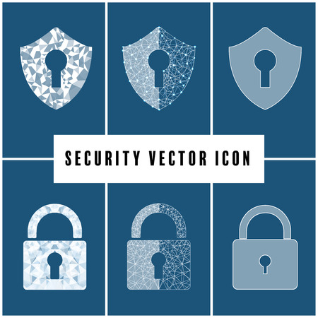 Abstract security vector icon with shield and padlock  on blue background. Vector illustration.
