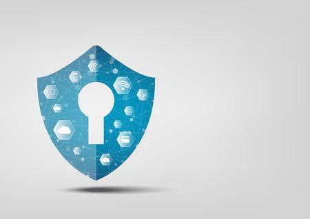 인터넷 보안 온라인 개념 : 자물쇠와 열쇠 구멍 아이콘. 개인 데이터 보안 사이버 데이터 보안 또는 개인 정보 보호 아이디어를 보여줍니다. 블루 추상  일러스트