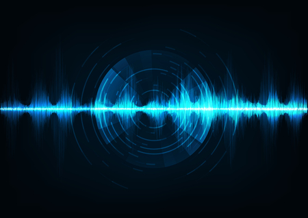 Blue music sound waves. Audio technology, musical pulse.