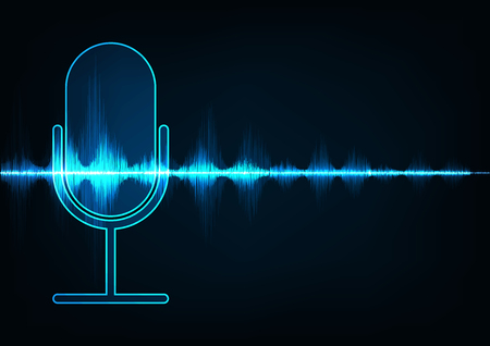 Abstract icon microphone on digital sound wave background.