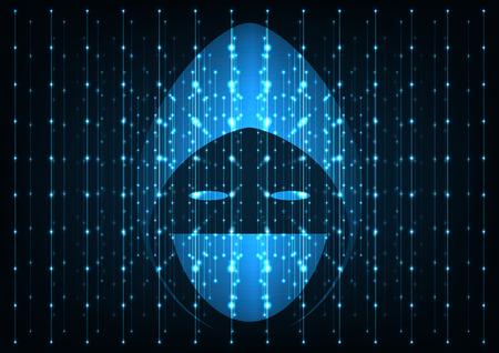 Internet crime concept. Hacker icon over a screen big data dark blue digital background. Illustration