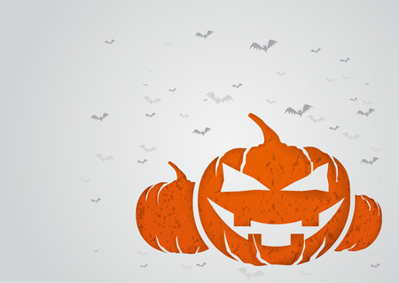 Halloween concept with paper cut into shape, pumpkin. Illustration