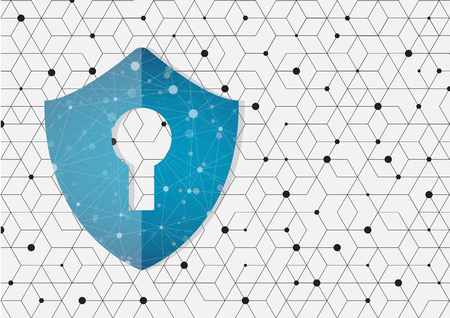 Global network security on shape of hexagon style design Illustration