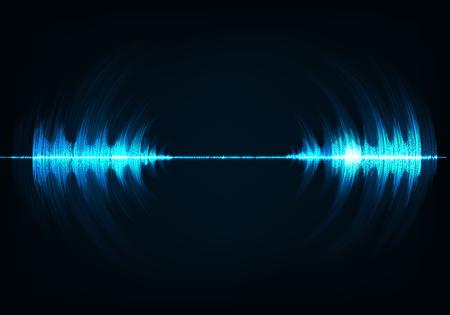 Blue music sound waves