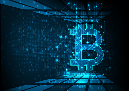 Abstract futuristic digital money with icon bitcoin digital currency on blue background, technology worldwide network concept. Illustration