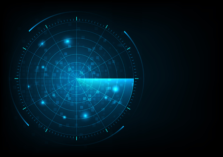 Cyfrowy niebieski realistyczny radar wektorowy z celami na monitorze w wyszukiwaniu. Wyszukiwanie lotnicze. Wojskowy system wyszukiwania. Tapeta interfejsu nawigacji.