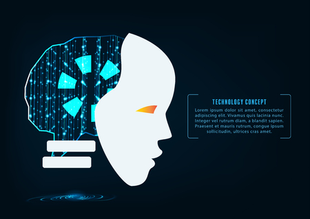 Artificial intelligence. Head of the robot with binary code matrix inside. Cyber technology, Machine learning systems and automation concept.