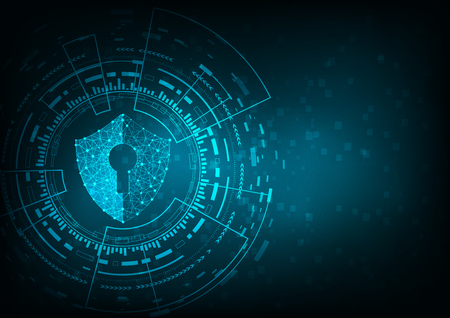 Internet technology cyber security concept with diamond shield Keyhole icon on Blue abstract background. Illustration
