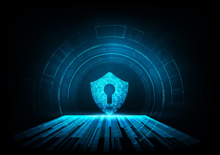 Internet technology cyber security concept of protect computer virus attack with shield Keyhole icon on Blue abstract background. Illustration