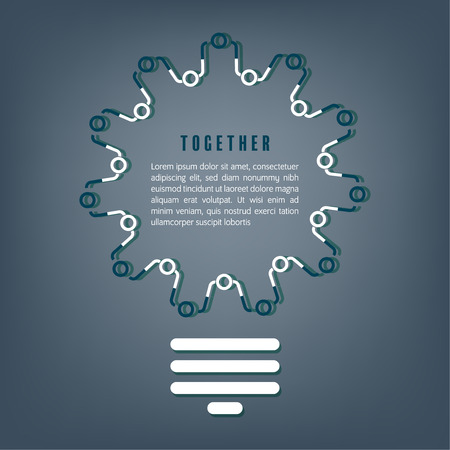 Together concept. Business people icon handshake with gear shape in light bulb as a social community group symbol or business concept the same goal working for a common cause with team partnership.