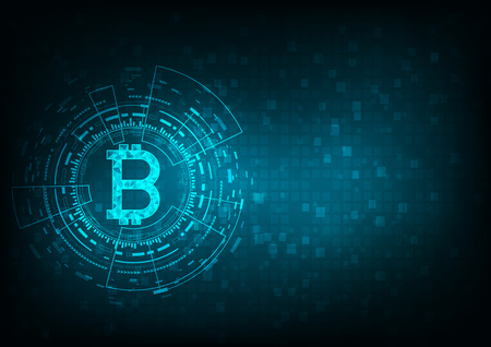 Abstract futuristic digital money with logo bitcoin digital currency on blue background, , technology worldwide network concept. Illustration