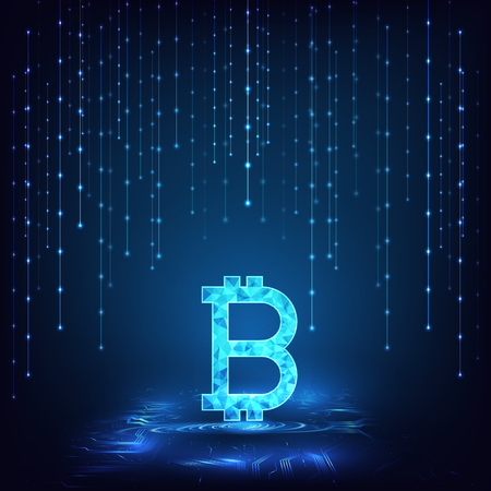 Abstract futuristic digital money with logo bitcoin digital currency on circuit board blue background.Technology worldwide network concept.