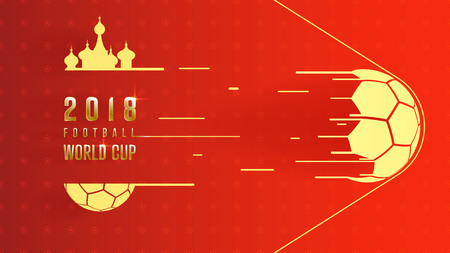 Gold 2018 world championship football cup on red background. 16:9 aspect ratio, Poster soccer template background, vector illustration. Illustration