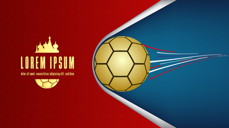 Football cup.Poster soccer background.Russia 2018.