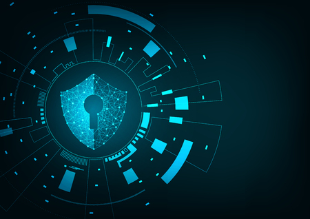Internet technology cyber security concept of protect computer virus attack  with  shield  Keyhole icon on Blue abstract background.