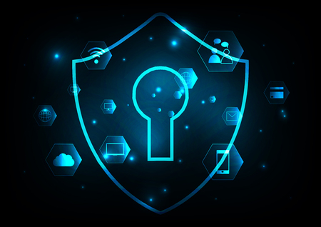 Internet technology cyber security concept of protect and scan computer virus attack  with radar screen on Blue abstract background. Illustration