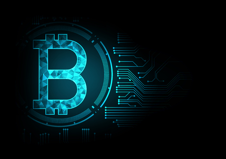 Abstract futuristic digital money with logo bitcoin digital currency on blue circuit board glowing electric lights background.Technology worldwide network concept. Illustration