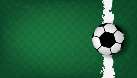 Top views of soccer ball on green grass and line of soccer field pattern background and texture. Football design background . Illustration