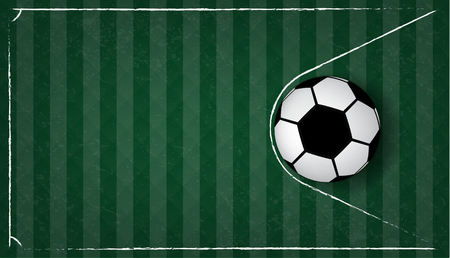 Soccer ball in net on green gress background. Football design background template,free copy space, vector Illustration