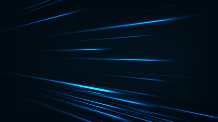 Abstract speed technology concept. with light and stripes motion blur moving fast over dark background. Illustration