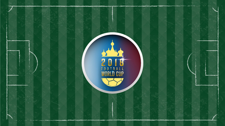 Soccer ball in net on green gress background. Football design background template,free copy space, vector.world cup concept. Illustration