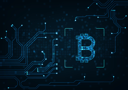Abstract futuristic digital money with logo bitcoin digital currency on blue glowing electric lights background.Technology worldwide network concept.