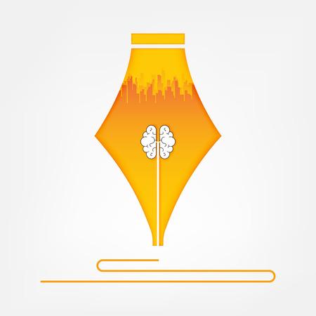 Brain in pen. creative idea concept , vector art and illustration.