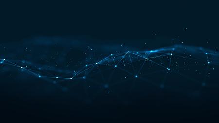 Abstrakte geometrische Formen des Plexus-Blaus. Verbindung und Webkonzept. Hintergrund des Digital-, Kommunikations- und Technologie-Netzwerks mit sich bewegenden Linien und Punkten. Standard-Bild