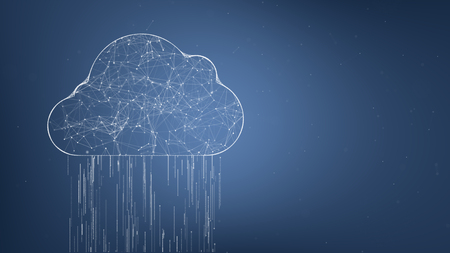 Cloud computing concept. Social network connections. Connecting people on the internet, nodes transforming into the shape of cloud.