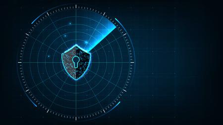 Concetto di sicurezza informatica della tecnologia Internet di protezione e scansione dell'attacco di virus informatici con l'icona Scudo sul radar digitale blu realistico con obiettivi sul monitor in background di ricerca.