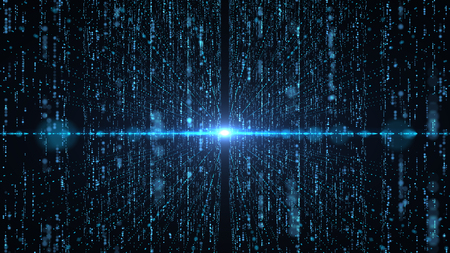 Concetto futuristico di tecnologia dell'informazione di big data. Grafica animata per data center astratto, catena di blocchi, server, internet, velocità. Archivio Fotografico
