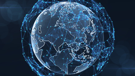 Growing global network and data connections concept.Scientific technology data network surrounding global connectivity.