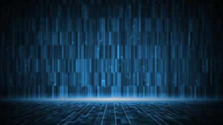 Fondo abstracto de la matriz digital. Concepto de tecnología de información de big data futurista. Gráfico de movimiento para centro de datos abstracto.