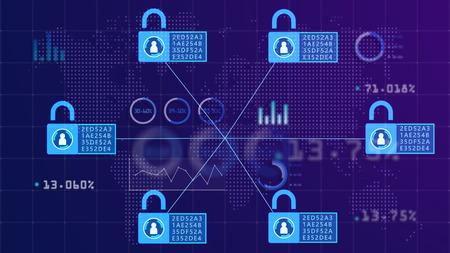 Concepto de cadena de bloques. Patrones abstractos de distribución de información a todos en la red. Como una cadena de información conectada con todos en la red de forma segura. Foto de archivo
