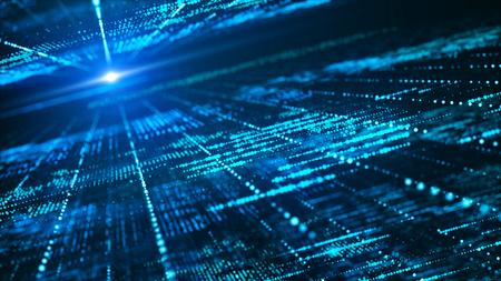 Fondo abstracto de la matriz digital. Concepto de tecnología de información de big data futurista. Gráfico de movimiento para centro de datos abstracto, cadena de bloques, servidor, internet, alta velocidad.